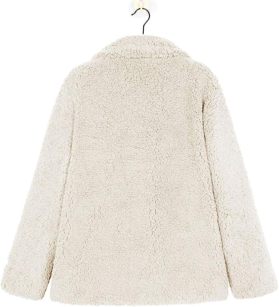 Wintialy Women/'s Casual Long Sleeve Button Lapel Loose Jacket Fuzzy Fleece Winter Coat Outwear with Pockets