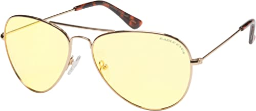 FOCUS ANTI-GLARE Night Driving Glasses Metal Aviator Yellow Lens Reduces Glare