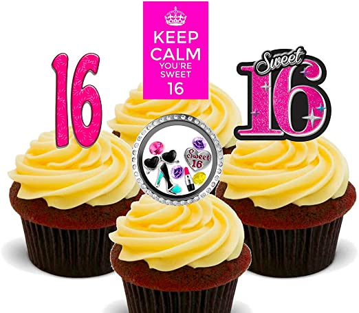 Prime Made4You 16Th Birthday Girl Sweet 16 Edible Cupcake Toppers Personalised Birthday Cards Veneteletsinfo