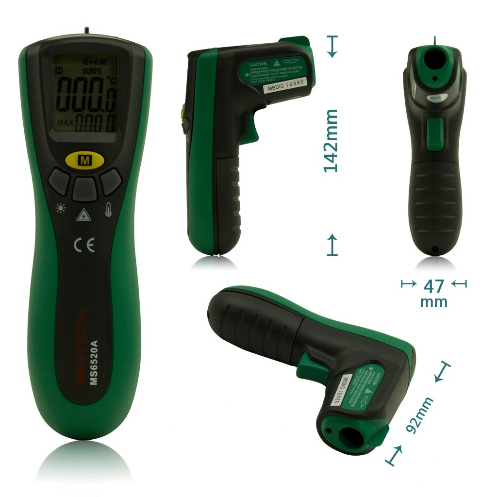 Mastech MS6520A Non-contact Digital Infrared Laser IR Thermometer