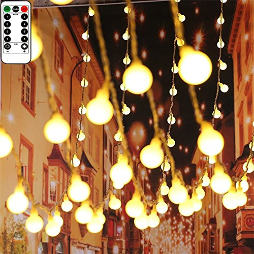 33Ft Indoor/Outdoor String Lights USB Powered 100 LED Globe String Lights Waterproof Fairy Lights with Remote & Timer Hanging Lights String for Patio Garden Porch Wedding Party Xmas Decor, Warm White by Amasio