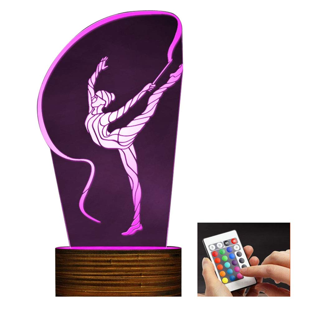 Novelty Lamp, 3D Led Lamp Rhythmic Gymnastics Night Light Optical Illusion Remote Control 15 Colors with USB Charging Interior Lighting Children's Birthday Present New Year and Anniversary,Ambient Li