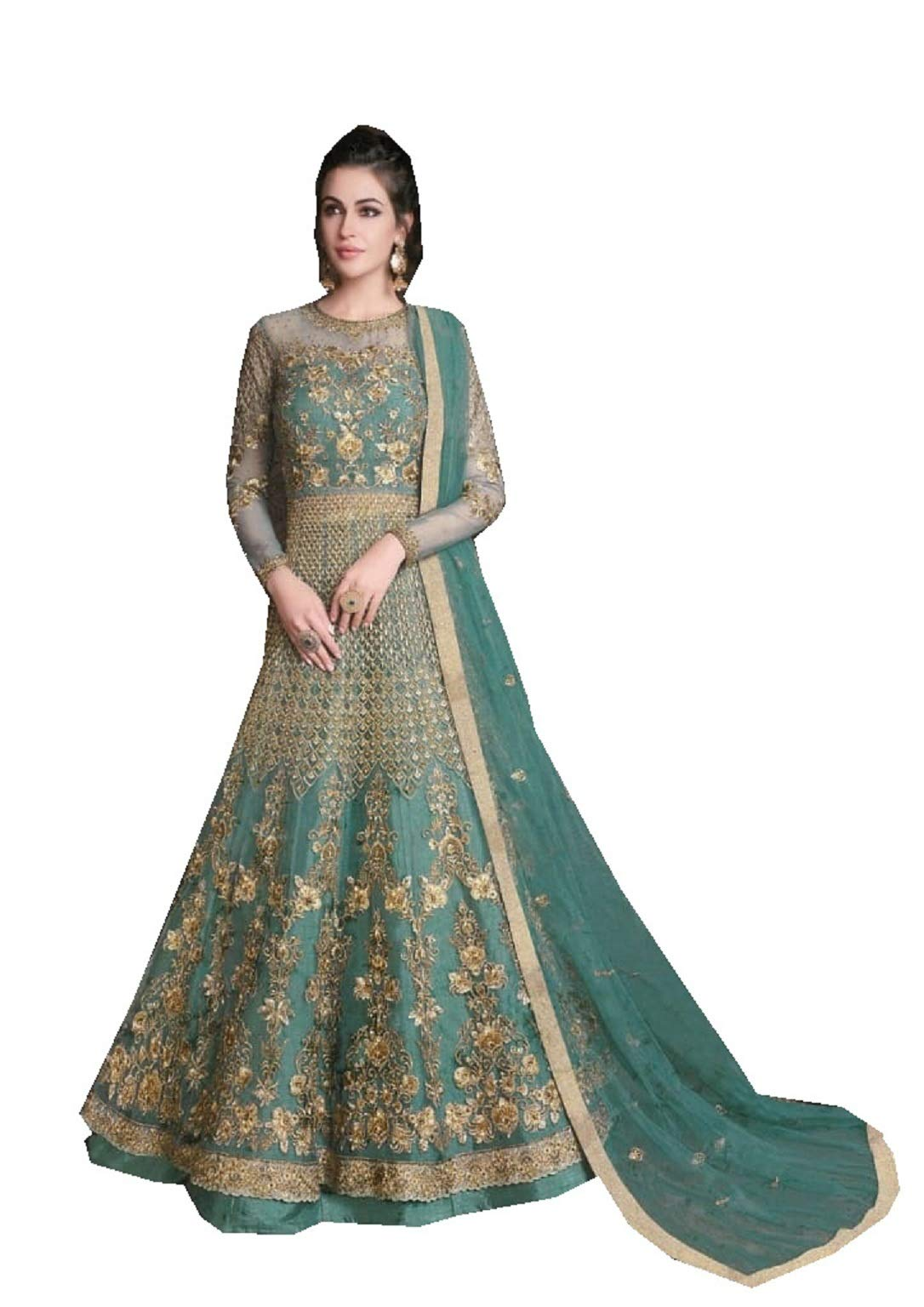 New Indian/Pakistani Ethnic wear Anarkali Gown RAZEE 10019 (Sky Blue, M-40)