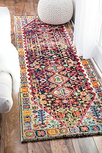"nuLOOM Meadow Vintage Vibrant Runner Rug, 2' 6"" x 8', Black - Origin: Turkey Weave: machine made Material: 100% polypropylene - runner-rugs, entryway-furniture-decor, entryway-laundry-room - 61uWiABkZ7L -"