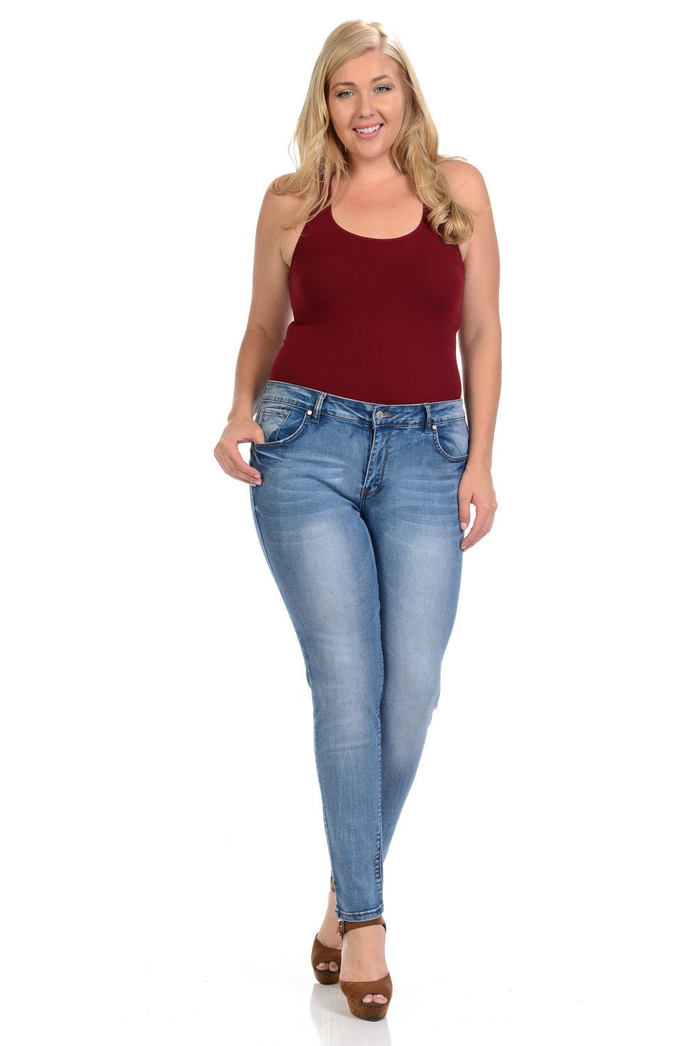 Sweet Look Black Edition Women's Jeans · Plus Size · High Waist · Push Up · Style A283 · Blue · Size 18