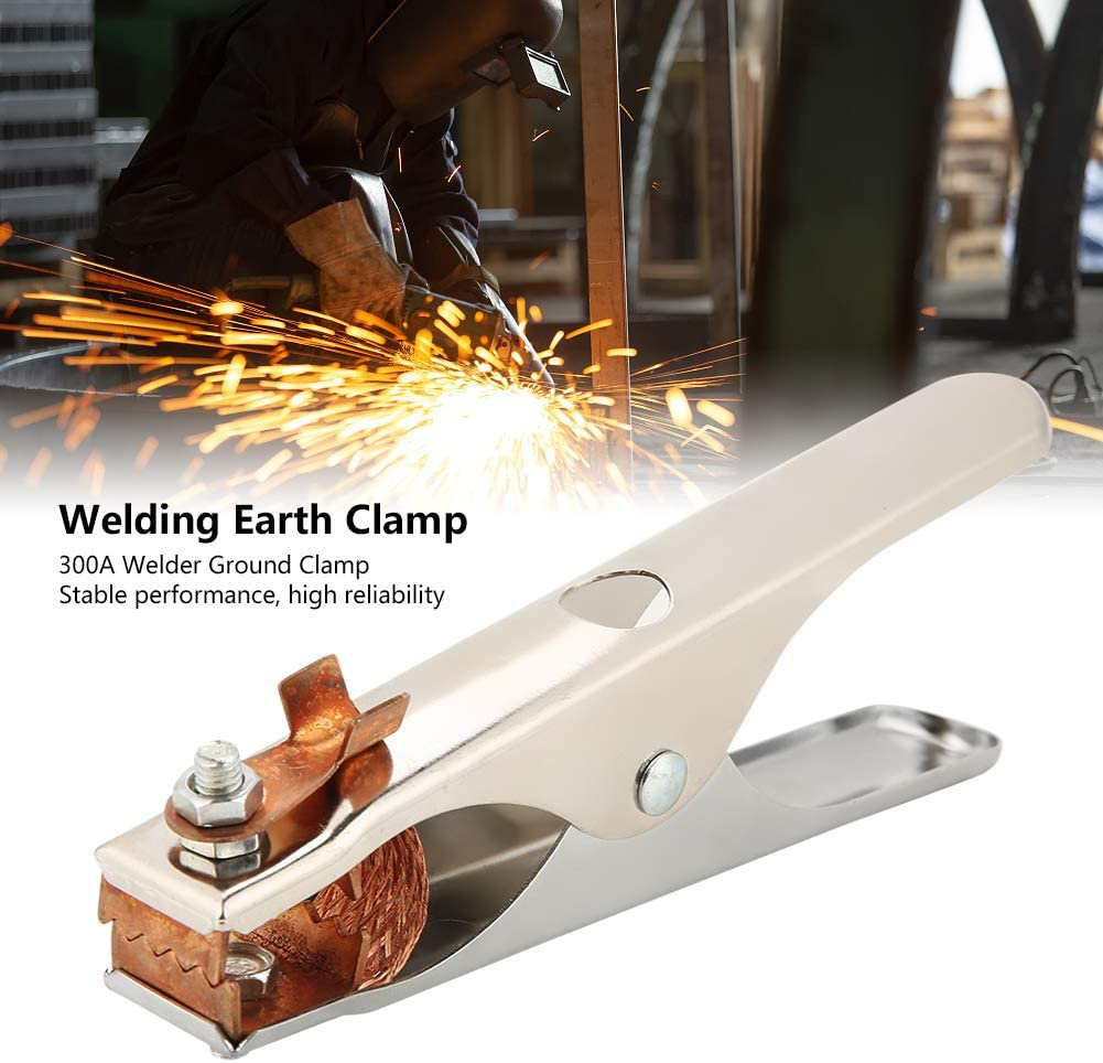 Welding Ground Clamp 300A Electroplated Welding Earth Clip Heavy Duty for Manual Welder Copper