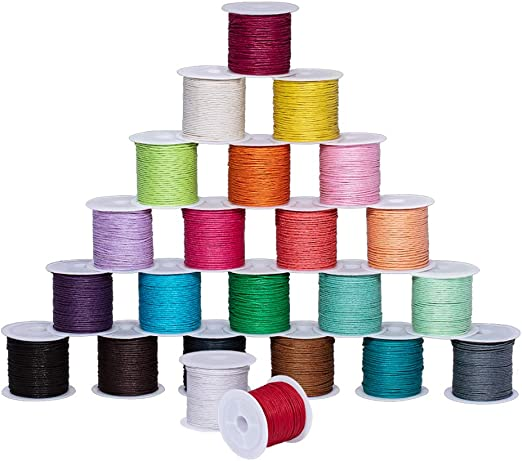 25 Rolls Round Waxed Cords Strings for Leather Craft Sewing Jewelry Making