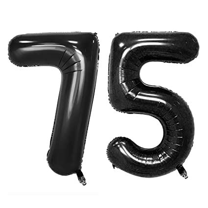 Image Unavailable Not Available For Color 40inch Black Foil 75 Helium Jumbo Digital Number Balloons 75th
