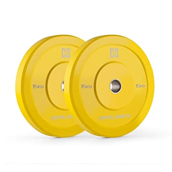 Capital Sports Nipton Discos de peso Pareja 15 kg (Resistente goma dura, abertura de 50,4 mm, ideales para cualquier barra olímpica o Cross-Training, Weight-Drops / Saques, color amarillo)
