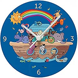 Colorful Kids Nursery Wall Clock fun children's room rainbow Noah's Ark Clock Battery operated silent 8 inch hand made in Jerusalem