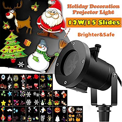 Christmas Led Projector Lights, Newest Version 12W 15 Slides Bright Waterproof Landscape Led Projector Spotlight Show for Thanksgiving Day, Holiday, Garden, Party Decoration Celebrations, Projection H