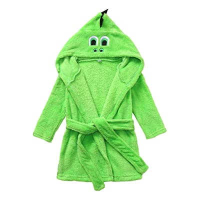 EDTO Kids Baby Boy Girl Cartoon Hooded Fleece Bathrobes Towel Night-Gown Sleepwear (0-6 Months, Green): Toys & Games