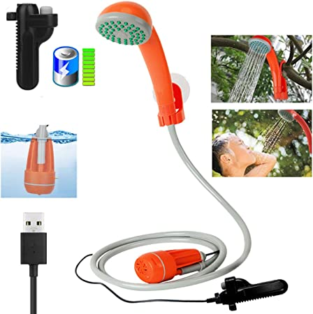 Qdreclod Portátil Ducha de Camping con 2200mAh Recargable Batería, Cable USB, Bomba de Agua, Manguera de 1.8m, Ventosas y Ganchos, Ducha Exterior para ...