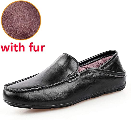 Ponte en los Hombres Ocasionales de los Holgazanes de los Mocasines para Hombre Zapatos de Cuero de los Hombres de Zapatos de los Planos, Hei SE con Piel, 11.5: Amazon.es: Zapatos y