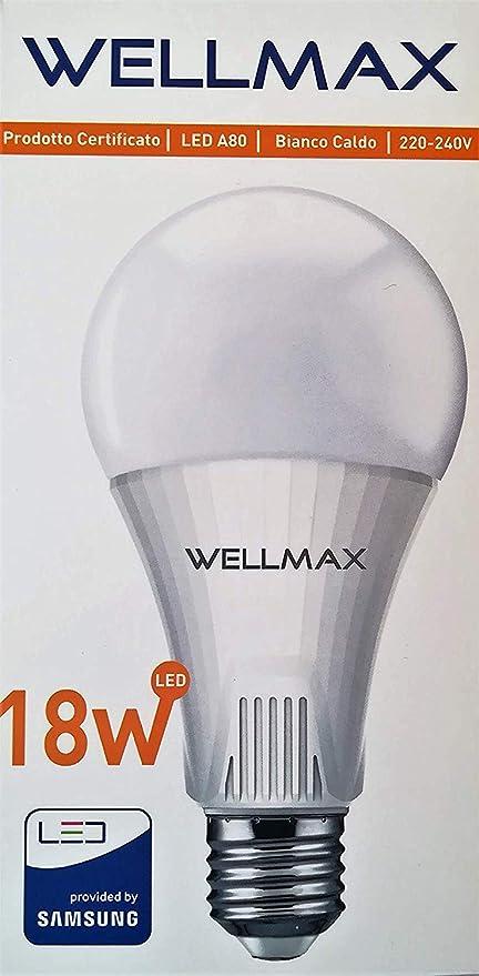WELLMAX - BOMBILLAS LED 18W - E27-1700 Lumen - Luz cálida 3000K ° -