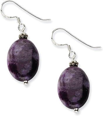 925 Sterling Silver Dark Charoite Dangle Earrings