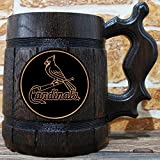 St. Louis Cardinals Beer Mug, Baseball Wooden Beer Stein, Sport Gift, Personalized Beer Stein, St. Louis Cardinals Tankard, Custom Gift for Men, Gift for Him