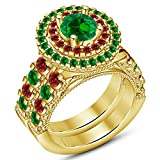 TVS-JEWELS 14k Gold Plated Prefect Fit Round Cut Gemstone Bridal Set Wedding Engagement Ring (11.75)