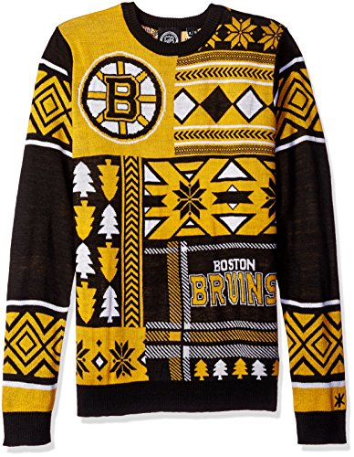 NHL Boston Bruins Patches Ugly Sweater, Black, Medium