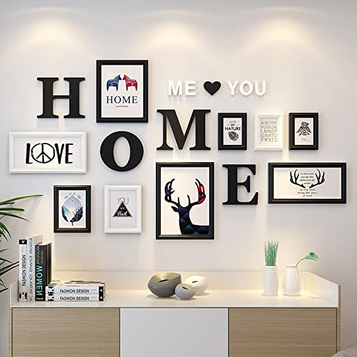 Amazon Com Photo Frames Living Room Study Photo Wall Picture Frame Wall Hanging Solid Wood 3d Stereo Monogram Decorative Paintings Color D