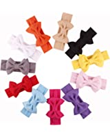 """Qandsweet Baby Girls Headbands and Forked Tail Bow Photography (11 Pack L-4.5"""" W-4"""" Bow)"""