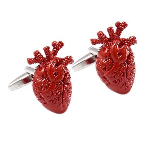 Baoblaze 1 Paar 3D Anatomische Herz Rot Manschettenknöpfe Anatomie ...