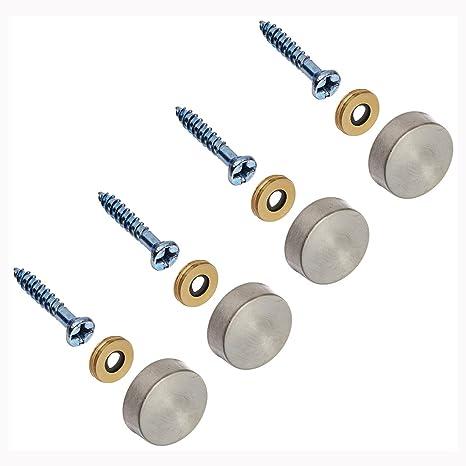 Clavos de espejo - SODIAL(R) 4pzs 16mm Clavos de espejo decorativos de tapas de acero inoxidable