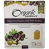 Organic Traditions – Maca X-6 Black And Red-Purple Powder – Energizing Adaptogen – Caffeine-Free – 150g