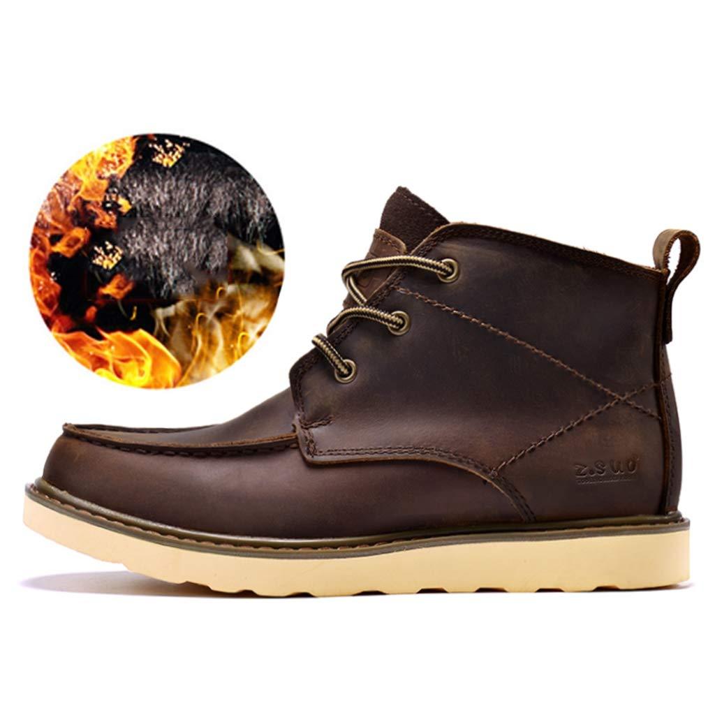 ワークブーツ メンズ ブーツ ショートブーツ 本革 クラシック Men's boots 滑りにくい カジュアル 履き心地良い おしゃれ ハイカット 裏起毛/無し 暖か エンジニアーツ ダークブラウン ブラウン イエロー B07HL8KQVK 27.0 cm|ダークブラウン ボア ダークブラウン ボア 27.0 cm