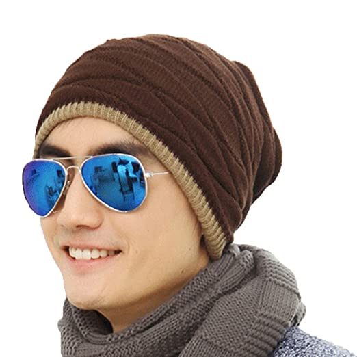 c6cf3de34f9 K-mover Winter Men s Thickening Knit Skull Caps Fashionable Warm Beanie Hat  for Outdoor Activities (Black(reversible style)) at Amazon Men s Clothing  store