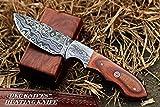 (5 5/18) SALE DKC-514 TRAIL MASTER Damascus Hunting Handmade Knife Fixed Blade 7.5 oz 9″ Long