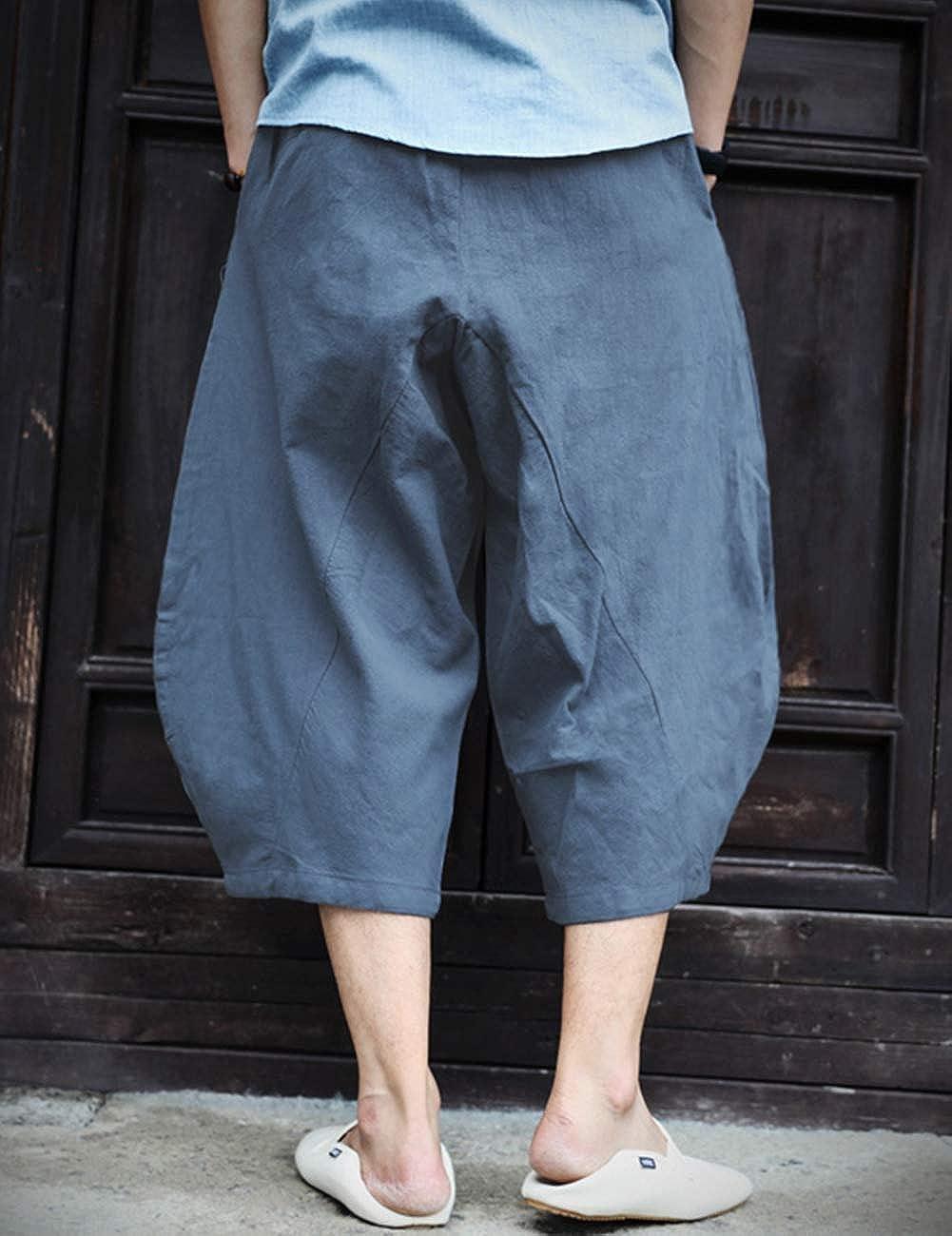 TACVASEN Herren Sommerhose Kurz 3//4 Baumwollshorts Baggy Leinenshorts Leicht Loose Fit Freizeithose mit Taschen