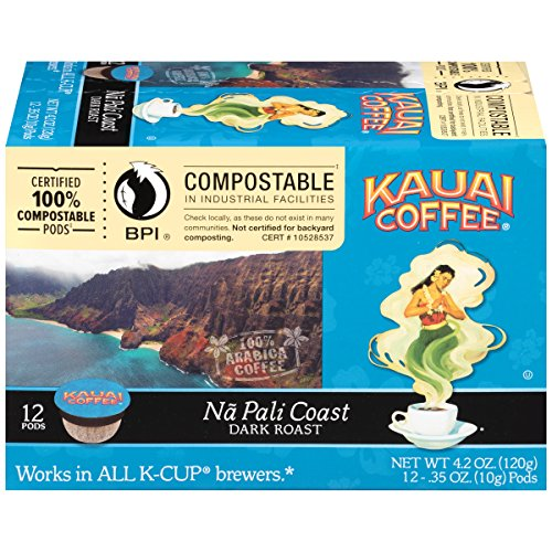 Kauai Coffee, Na Pali Coast Dark Roast, Single Serve Coffee Cups, 12 Count