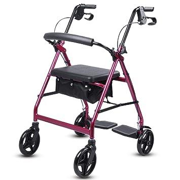 Andador Aluminio Liviano Carrito De Cuatro Ruedas para Caminar, Puede Empujar Puede Sentarse, Andador Plegable, con Pedal Y Freno De Mano De Seguridad,Red: ...