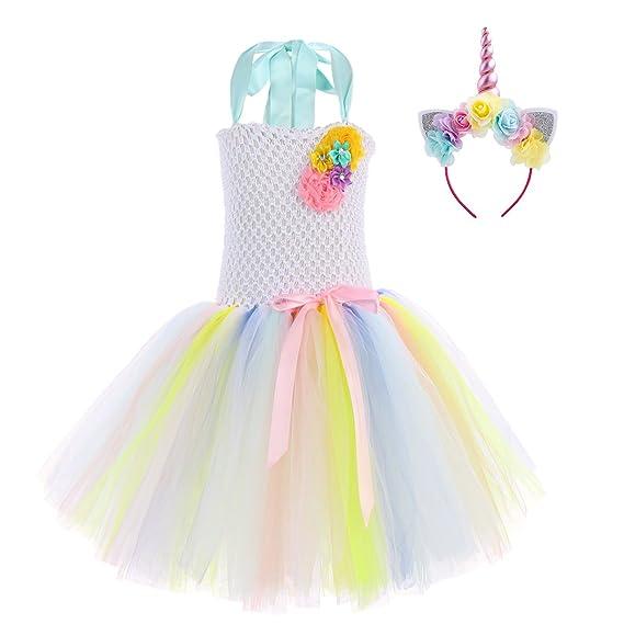 be4b1f97d Vestido de cumpleaños con diseño de unicornio arcoíris para niñas, con  diadema de flores,
