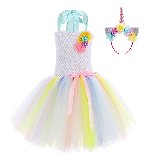 4ed70bed4bab8 Amazon.com: IBTOM CASTLE Kids Girls Rainbow Tutu Dress with Headband  Halloween Cosplay Costumes Party Fall Outfit Fancy Dress up Clothes:  Clothing