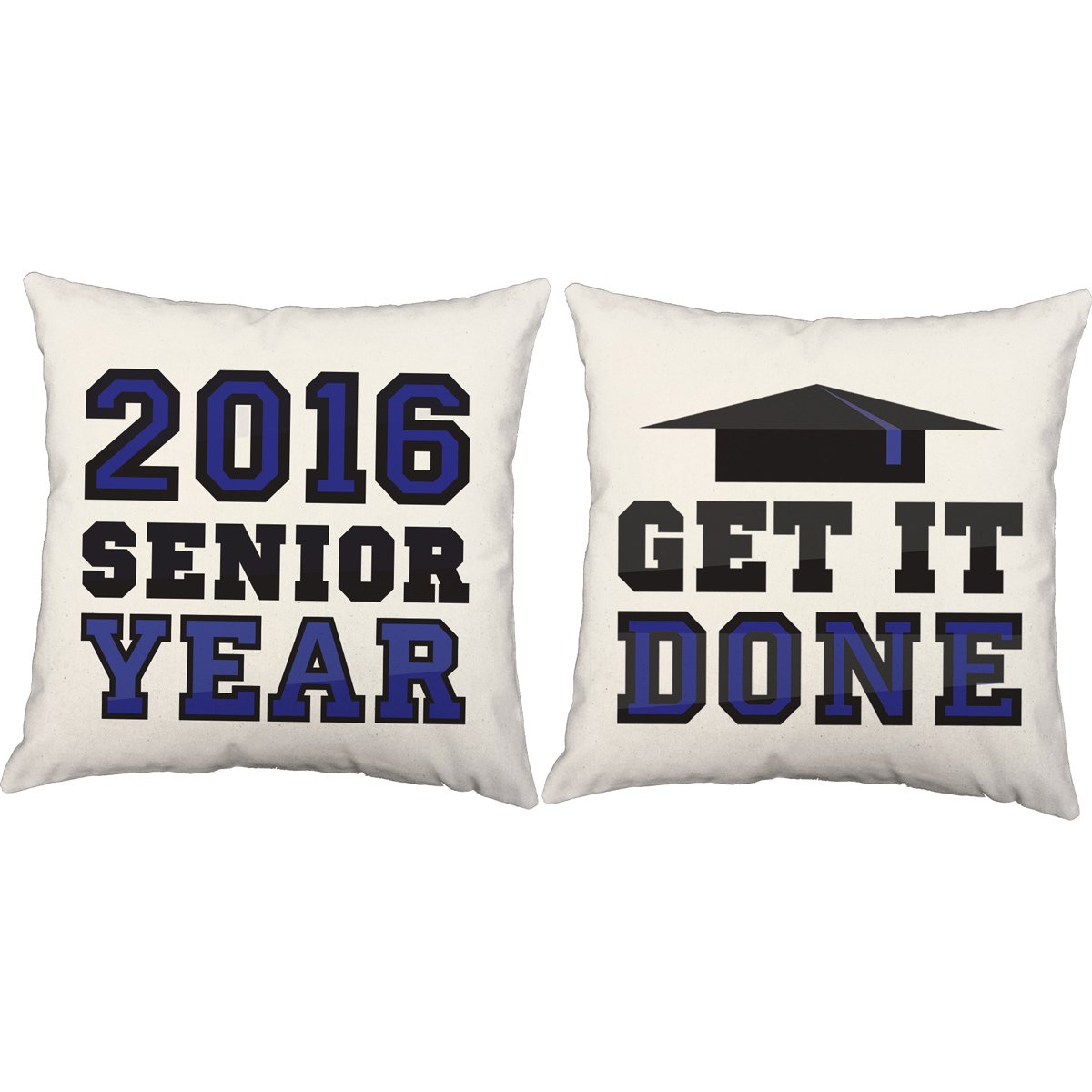Set of 2 RoomCraft Senior Class Motivation Throw Pillows 20x20 Square White Indoor-Outdoor Custom Graduation Year Cushions