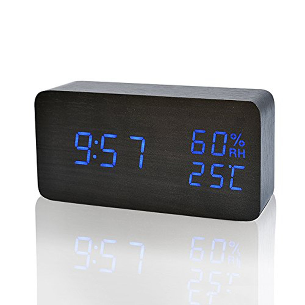 Xianan LED Wood Alarm Clock Modern Desk Clock Small Floor Clock Date / Temperature / Humidity Display Digital Alarm Clock (Black-blue)
