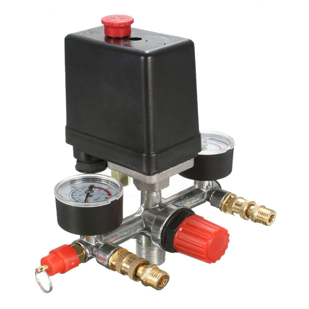 HOUTBY Air Compressor Pressure Control Switch Valve Manifold Regulator Gauges Relief