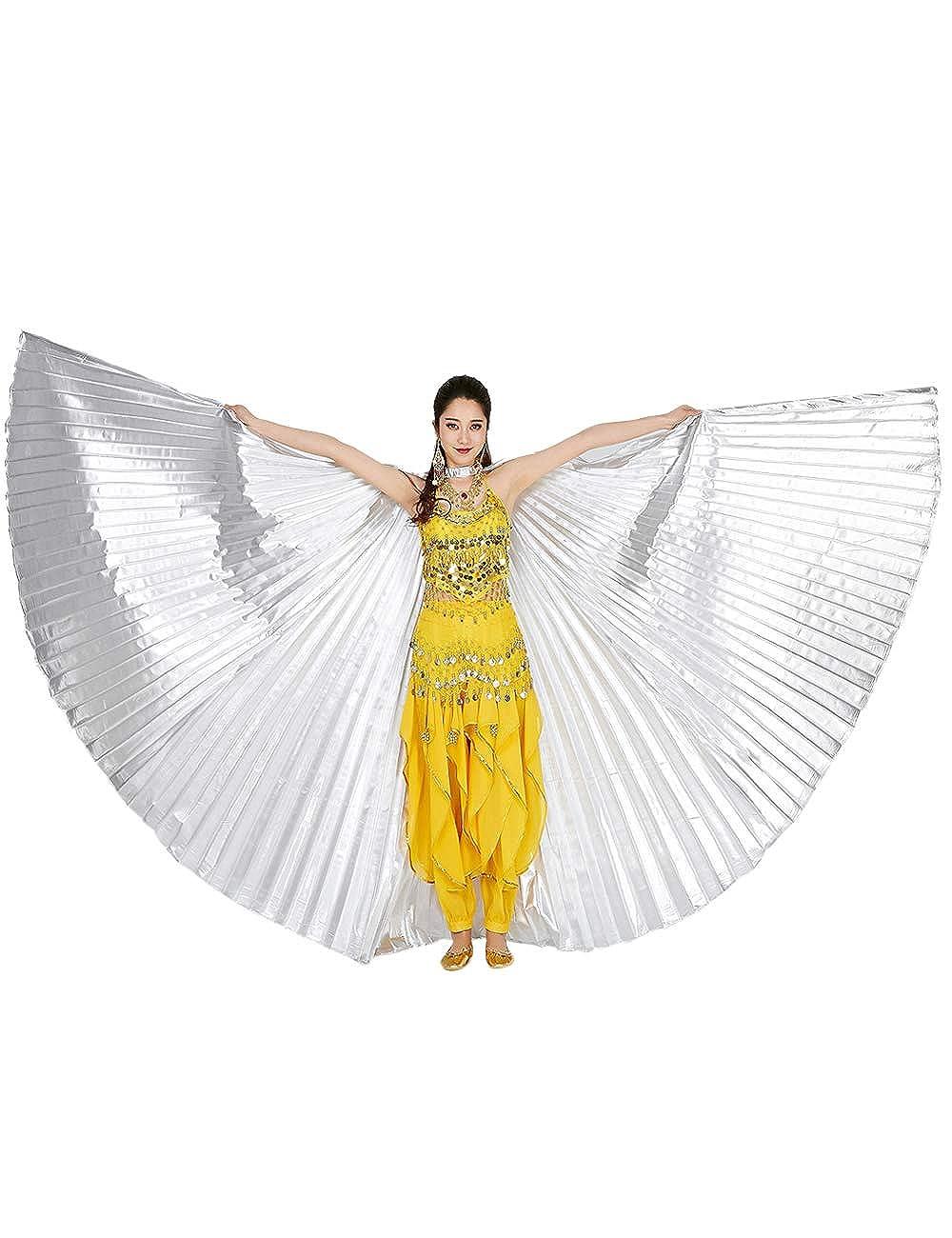 360 Grados Alas de Danza del Egipto Trajes de la Etapa Props besbomig Mujer Alas de Danza del Vientre con Telesc/ópico Palos//Barras