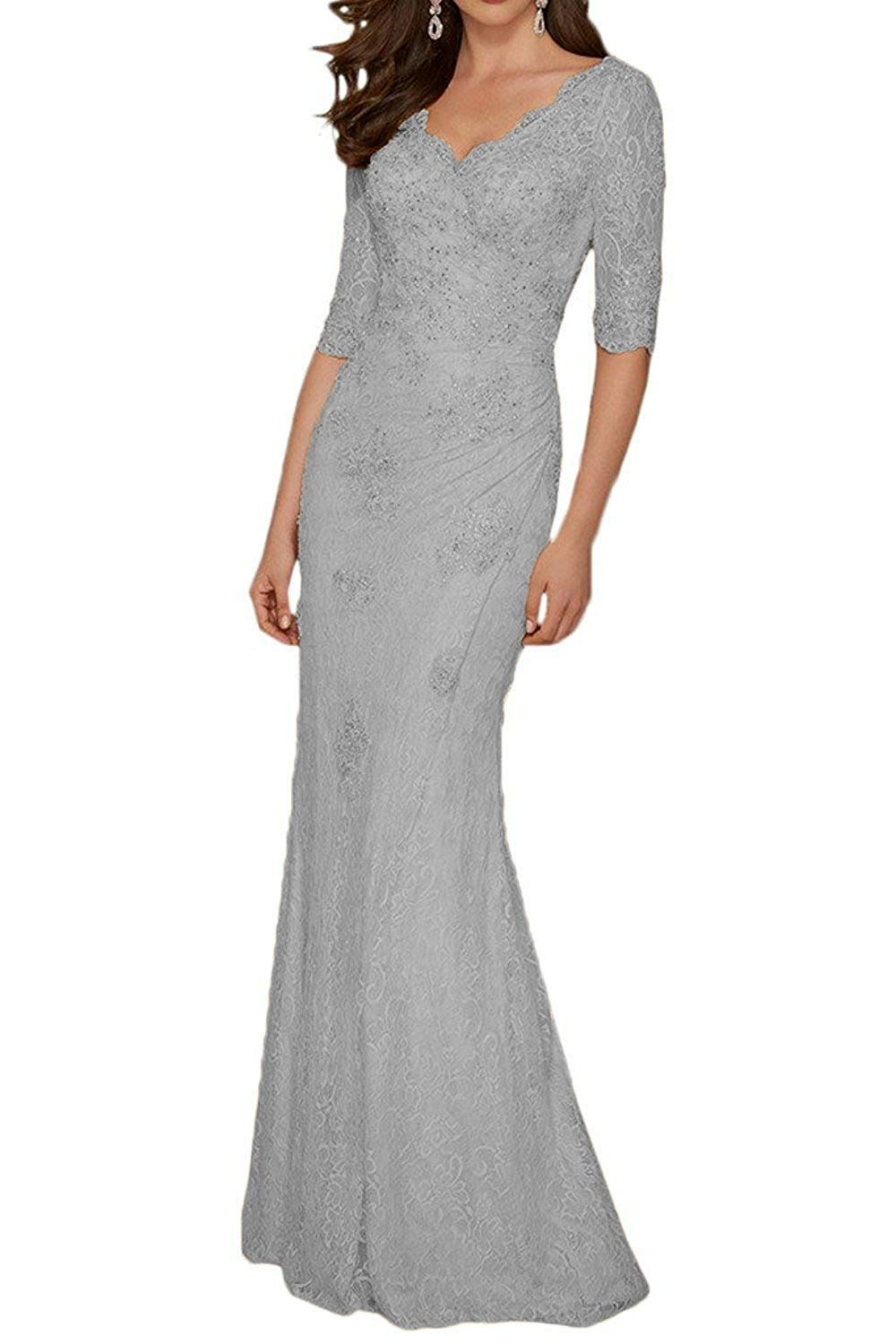 Mother of the Bride Dresses For Groom Wedding Women/'s Formal Gown Half Sleeves