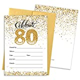 80th Birthday Party Invitation Cards with Envelopes, 25 Count (White and Gold)