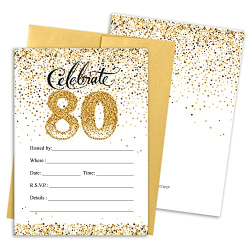 80th Birthday Party Invitation Cards with Envelopes, 25 Count (White and Gold) by DISTINCTIVS