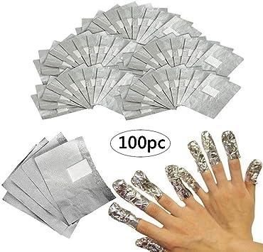 50/100 Tiras Quitaesmalte de Papel de Aluminio con Toallitas de ...