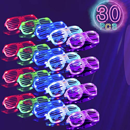 30 Pack LED Light Up Glasses,Glow in The Dark Glasses,Neon Party Supplies Party Favors, LED Sunglasses Bulk Shutter Shades Accessories(6 Colors)