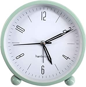 "Sherry Nightlight Alarm Clock 4"" Round Silent Alarm Clock Bedside Desk Non-Ticking Travel Clock Battery Operated Green"