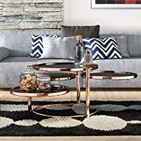 Furniture of America Cara Contemporary Round Motion Glass Metal Coffee Table Rose Gold