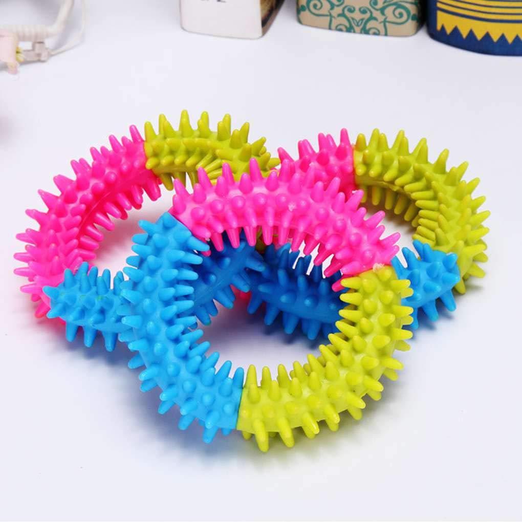 Bei/ßen Verfolgen Ausbildung Spielzeug f/ür Welpen mailfourn Buntes weicher Durable TPR-Gummiring Dental Kauen