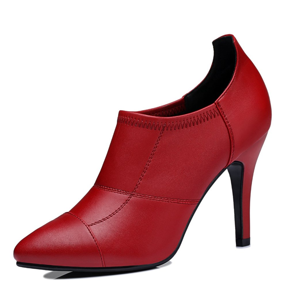 U-MAC Gorgeous Platform Pointy Toe Chunky High Heels Pumps Shoes for Party Dress Ankle Bootie