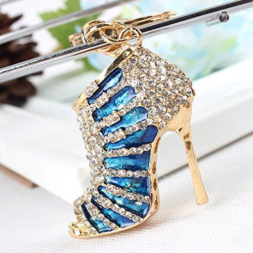 Crystal Rhinestone Diamante High Heel Shoe Decoration Chain for Phone Car Bag Key Ring keychain Charm Gift - Perfect for Women Ladies Girls' Phone Key Bag (Blue)